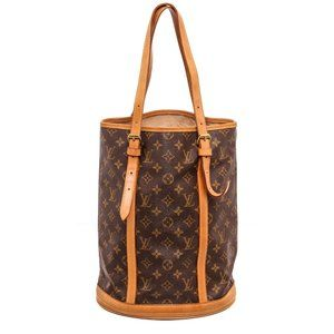 Louis Vuitton Canvas Leather Bucket Shoulder Bag